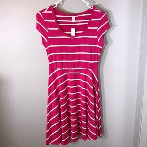NWT Old Navy Pink White Striped Shift Dress Cute!